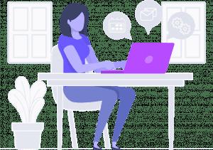 Sitting at a desk using MarketPowerPRO and Marketing MLM software